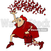 Clipart Cupid Running With A Bucket Of Hearts And Tossing Them In The Air - Royalty Free Vector Illustration © djart #1089376