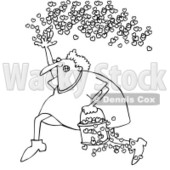 Clipart Outlined Cupid Running With A Bucket Of Hearts And Tossing Them In The Air - Royalty Free Vector Illustration © djart #1089377