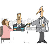 Clipart Waiter Serving Wine To A Couple At A Restaurant - Royalty Free Vector Illustration © djart #1105049
