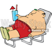 Clipart Chubby Man Sun Bathing And Holding A Beverage - Royalty Free Vector Illustration © djart #1108872
