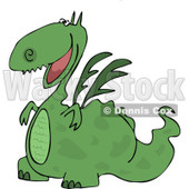 Clipart Cartoon Happy Green Dragon Grinning - Royalty Free Vector Illustration © djart #1109832