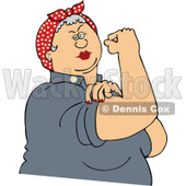 Clipart Chubby Gray Haired Rosie The Riveter Flexing Her Strong Muscles - Royalty Free Vector Illustration © djart #1110903