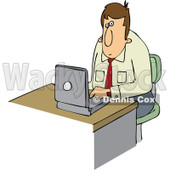 Clipart Businessman Working On A Laptop - Royalty Free Vector Illustration © djart #1111312