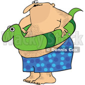 Clipart Chubby Hairy Man With A Snake Inner Tube - Royalty Free Vector Illustration © djart #1111979
