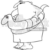 Clipart Outlined Chubby Hairy Man With A Snake Inner Tube - Royalty Free Vector Illustration © djart #1111980