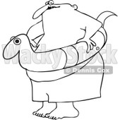 Clipart Outlined Chubby Man With A Snake Inner Tube - Royalty Free Vector Illustration © djart #1111981