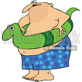 Clipart Chubby Man With A Snake Inner Tube - Royalty Free Vector Illustration © djart #1111982