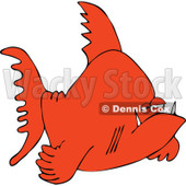 Cartoon Of A Grumpy Orange Fish - Royalty Free Vector Clipart © djart #1121981
