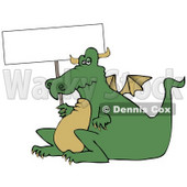 Lazy Fat Dragon Holding a Blank Sign Clipart Illustration © djart #11247