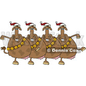 Cartoon Of A Chorus Of Christmas Cows With Bells Dancing The Can Can - Royalty Free Vector Clipart © djart #1137145