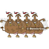 Cartoon Of A Chorus Of Christmas Cows Dancing The Can Can - Royalty Free Vector Clipart © djart #1137147