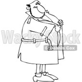 Black And White Cartoon Of An Outlined Flasher Man Holding Onto His Coat - Royalty Free Vector Coloring Page Clipart © djart #1144039