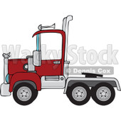 Cartoon of a Red Big Rig Semi Truck Cab - Royalty Free Vector Clipart © djart #1160539