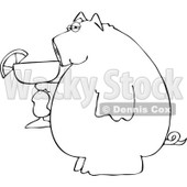Cartoon of a Black and White Pig Holding a Margarita - Royalty Free Vector Clipart © djart #1168914