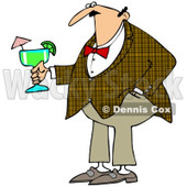 Cartoon of a Caucasian Man Wearing a Plaid Jacket and Holding a Margarita - Royalty Free Clipart © djart #1168920