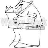 Cartoon of an Outlined Man Standing and Reading a Newspaper - Royalty Free Vector Clipart © djart #1170313