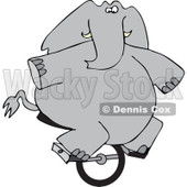 Cartoon of a Circus Elephant Riding a Unicycle - Royalty Free Vector Clipart © djart #1179795