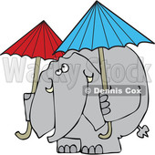 Cartoon of an Elephant with Two Umbrellas - Royalty Free Vector Clipart © djart #1199645
