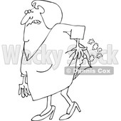 Cartoon of an Outlined Old Lady Passing Gas - Royalty Free Vector Clipart © djart #1199892