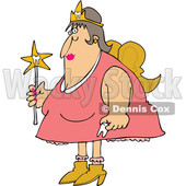 Cartoon of a Chubby White Tooth Fairy Holding a Wand - Royalty Free Vector Clipart © djart #1203376
