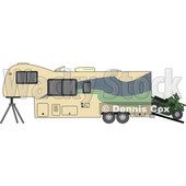 Cartoon of a Toy Hauler Trailer and ATV - Royalty Free Vector Clipart © djart #1206732