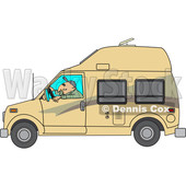 Cartoon of a Man Driving a Class B Motorhome - Royalty Free Vector Clipart © djart #1206734