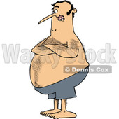Cartoon of a Hairy Chubby White Man with Folded Arms, Standing in Blue Swim Trunks - Royalty Free Vector Clipart © djart #1211614