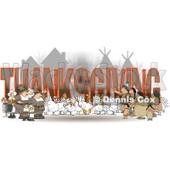 Cartoon of Turkey Birds Pilgrims and Native American Indians Around the Word THANKSGIVING - Royalty Free Clipart © djart #1213923