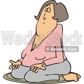 Clipart of a White Woman Meditating in the Lotus Pose - Royalty Free Vector Illustration © djart #1230190