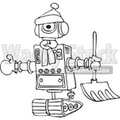 Clipart of a Black and White Winter Robot with a Snow Shovel - Royalty Free Vector Illustration © djart #1236530