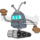 Clipart of a Robot Holding up a Gloved Hand - Royalty Free Vector Illustration © djart #1237195