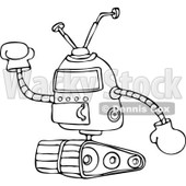 Clipart of a Black and White Robot Holding up a Gloved Hand - Royalty Free Vector Illustration © djart #1237196