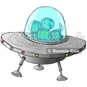 Clipart of a Family of Astronauts Flying a UFO Spaceship - Royalty Free Illustration © djart #1239291