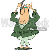 Clipart of a Caucasian Man Combing His Last Hair on His Balding Head - Royalty Free Vector Illustration © djart #1240173