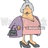 Clipart of a Caucasian Senior Lady with Her Hair in a Bun - Royalty Free Vector Illustration © djart #1241027