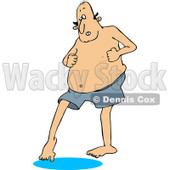 Clipart of a Chubby Caucasian Man in Swim Trunks, Dipping His Toe in Water - Royalty Free Vector Illustration © djart #1243198