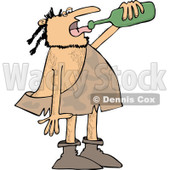 Clipart of a Caveman Drinking Wine from a Bottle - Royalty Free Vector Illustration © djart #1253043
