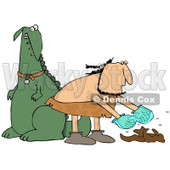 Clipart of a Caveman Cleaning up Dinosaur Poop - Royalty Free Illustration © djart #1254844