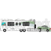 Clipart of a Caucasian Man Driving a Class a Motorhome and Towing a Car with a Dolly - Royalty Free Illustration © djart #1256067