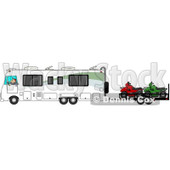 Clipart of a Caucasian Man Driving a Class a Motorhome and Towing Atvs - Royalty Free Illustration © djart #1256070