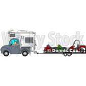 Clipart of a Caucasian Man Driving a Truck and Camper and Towing Atvs and a Utv - Royalty Free Vector Illustration © djart #1256635