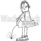 Clipart of a Black and White Hairy Caveman Peeing and Looking Back - Royalty Free Vector Illustration © djart #1263497