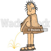 Clipart of a Hairy Caveman Peeing and Looking Back - Royalty Free Vector Illustration © djart #1263500