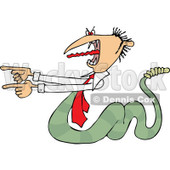 Clipart of a Toxic Caucasian Businessman Boss Snake Screaming and Pointing - Royalty Free Vector Illustration © djart #1269087
