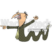 Clipart of a Toxic Caucasian Businessman Boss Snake Screaming, Waving a Fist and Pointing - Royalty Free Illustration © djart #1269088