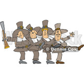 Clipart of Thanksgivinh Pilgrim Men Dancing the Can Can - Royalty Free Vector Illustration © djart #1270288