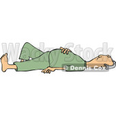 Clipart of a Caucasian Man Laying on His Back with His Hand over His Belly - Royalty Free Vector Illustration © djart #1271622