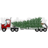Clipart of Santa Driving a Big Rig Truck with a Huge Christmas Tree - Royalty Free Vector Illustration © djart #1273854
