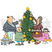 Clipart of a Caucasian Family of Five Decorating a Christmas Tree Together - Royalty Free Illustration © djart #1274402