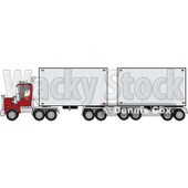 Clipart of a Christmas Santa Truck Driver in His Pajamas, Pulling a Double Trailer - Royalty Free Vector Illustration © djart #1274404